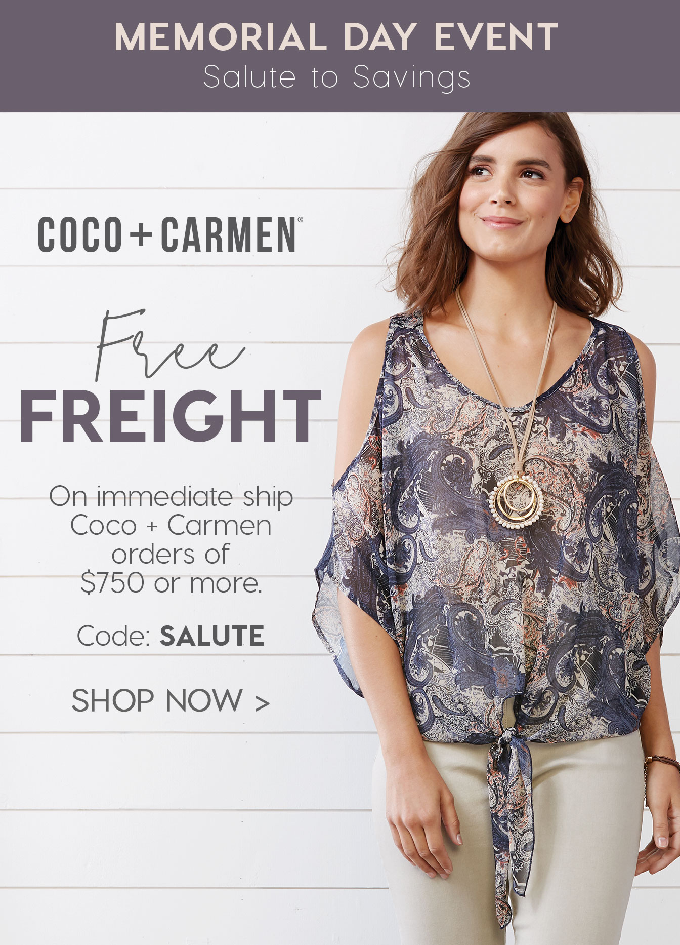 Coco + Carmen Free Freight Offer