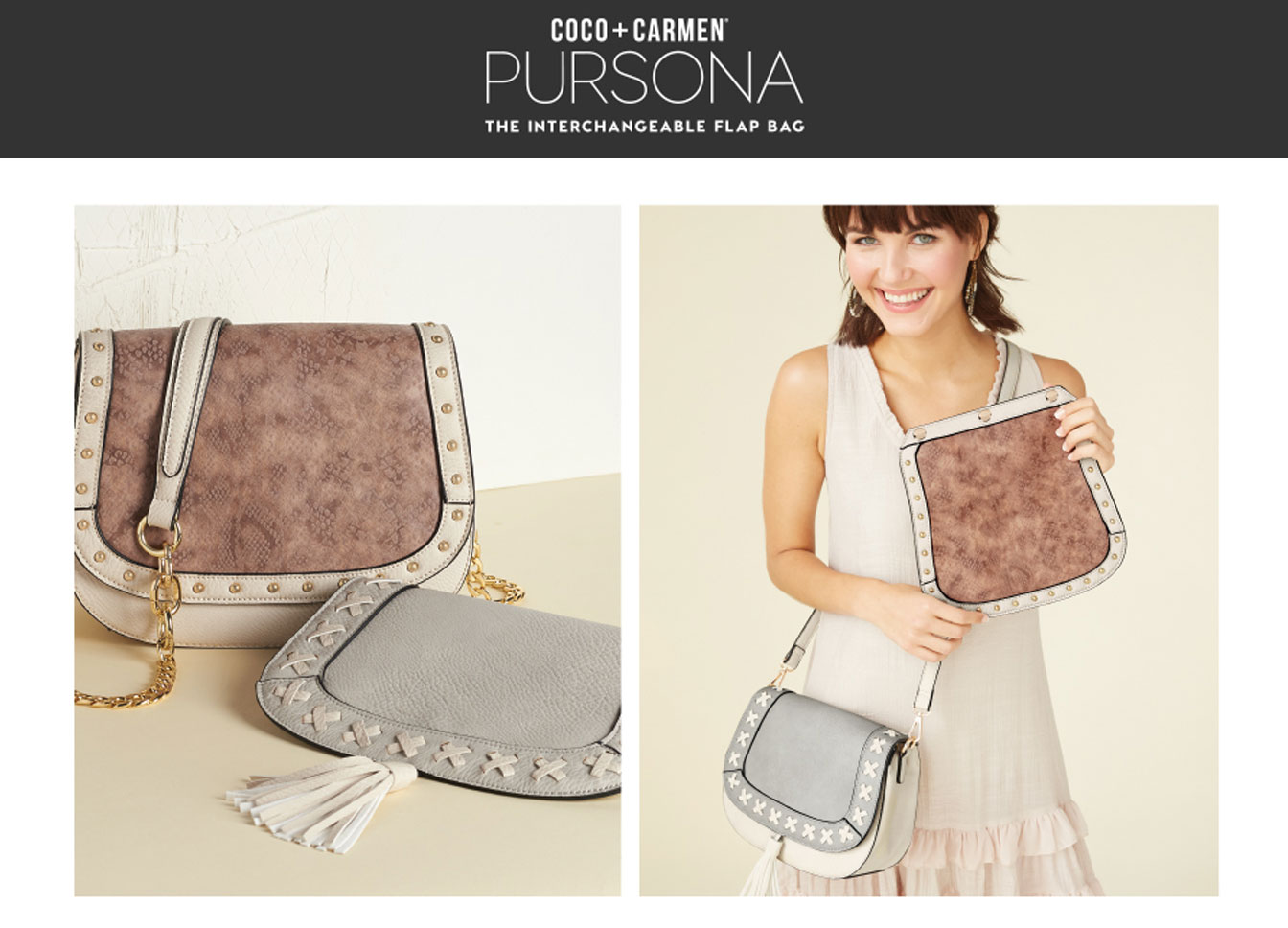 Pursona Interchangeable Flap HandBag